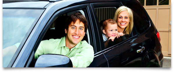 Family in automobile